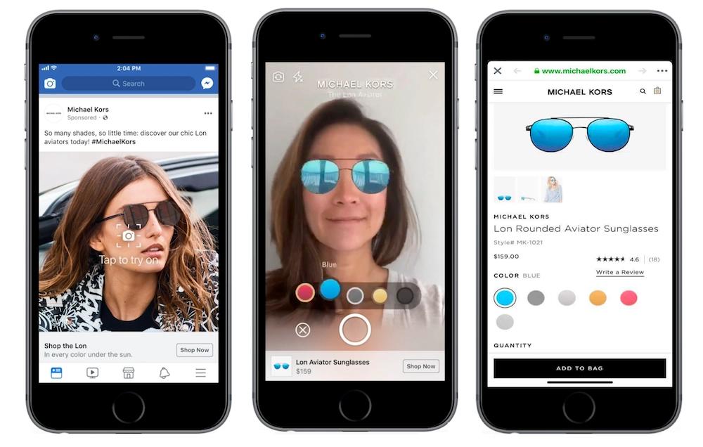 Michael Kors augmented reality app, helping people choose sunglasses