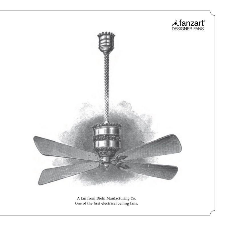 """fanzart fans Twitterren: """"A brief history of the electrical ceiling fan -  The first electrical ceiling fan was invented by Philip Diehl, it was  created by mounting a fan blade on a"""