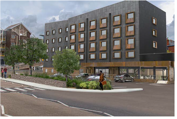 Artist impression of the Halcyon Road Travelodge plans for Newton Abbot