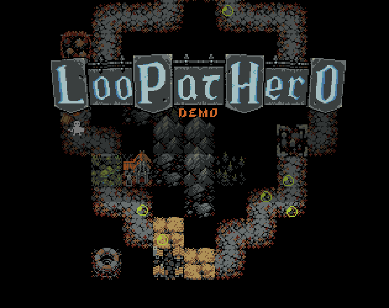 The text logo for Loop Hero's demo, LooPatHero, and an early look at the map.