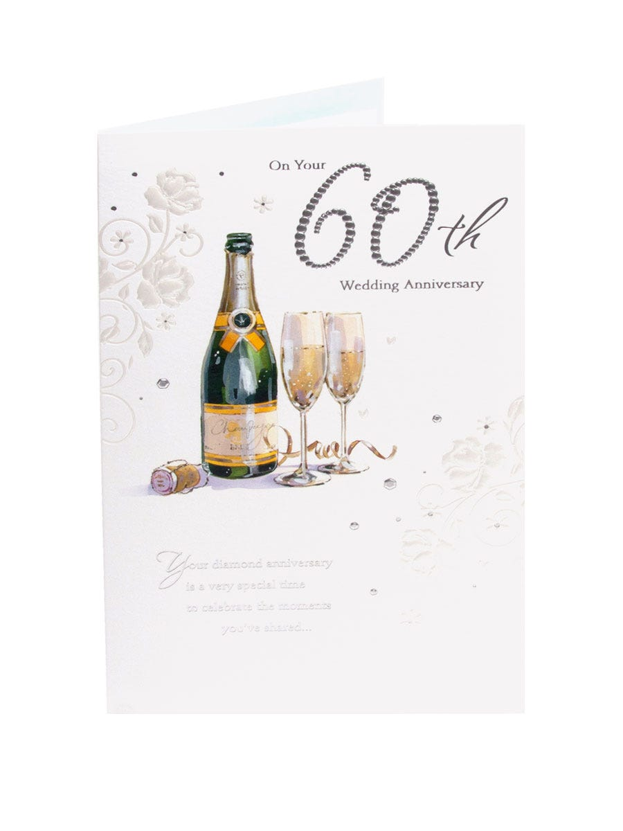 Clintons' Champagne 60th Wedding Anniversary Card