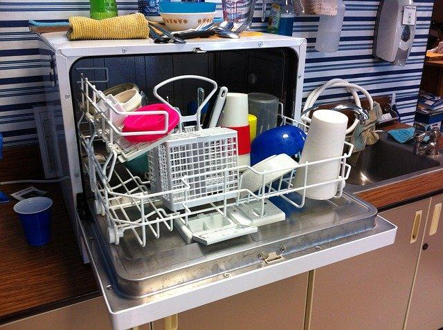 Loaded dishwasher with cutlery basket