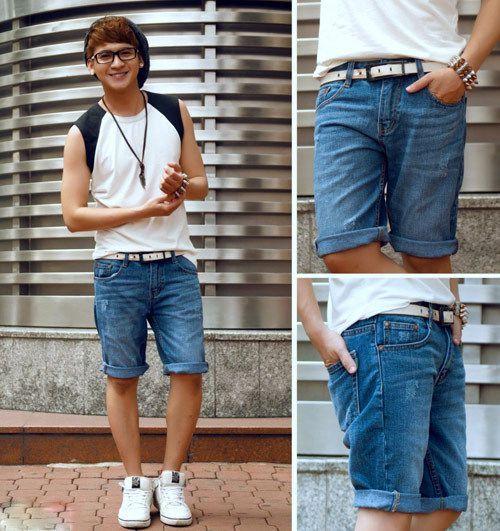 phối đồ với quần short jean nam