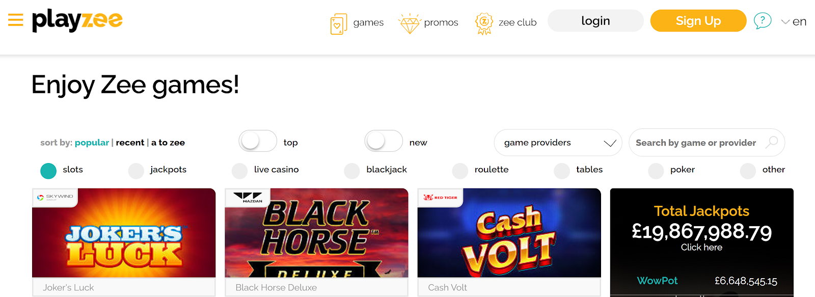 Playzee Casino is a top-rated slot bonus site