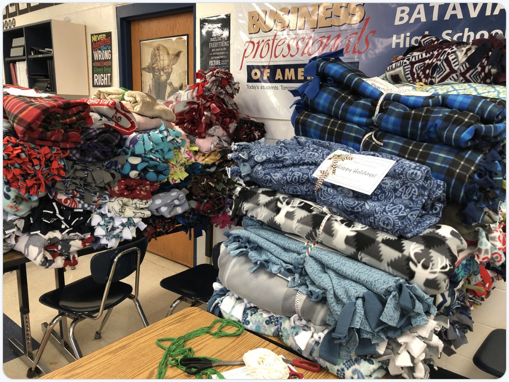 blankets that were made and/or donated by the BPA chapter for the local senior center.