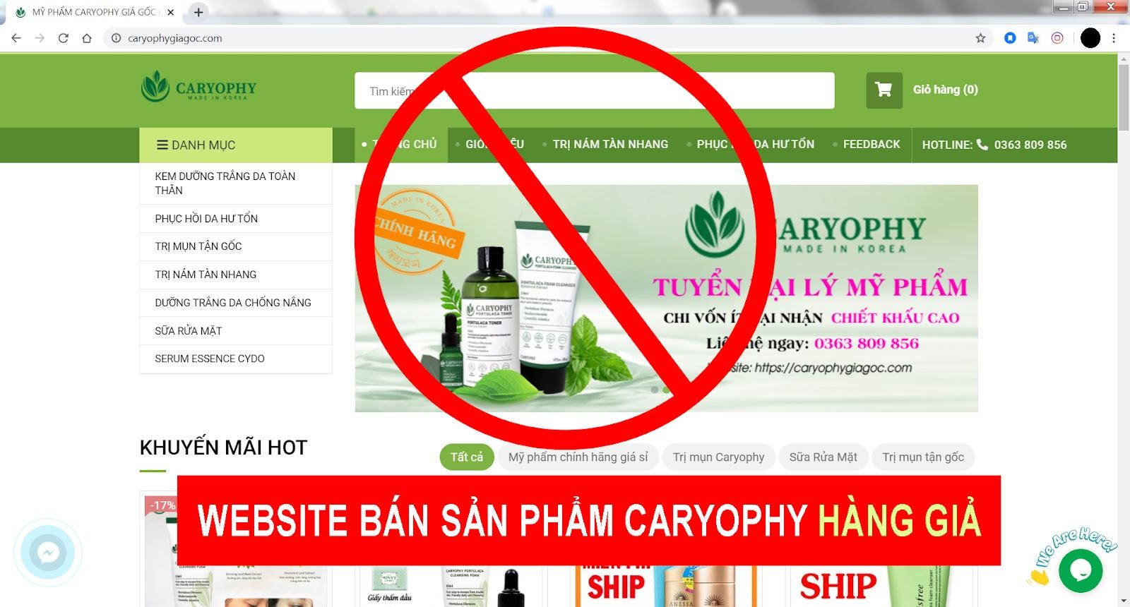 website bán serum caryophy giả