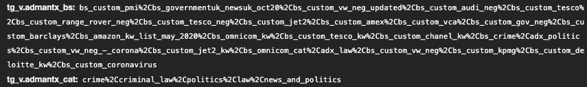 Screenshot of Chrome browser developer tools showing IAS query string parameters in a network HTTPS request