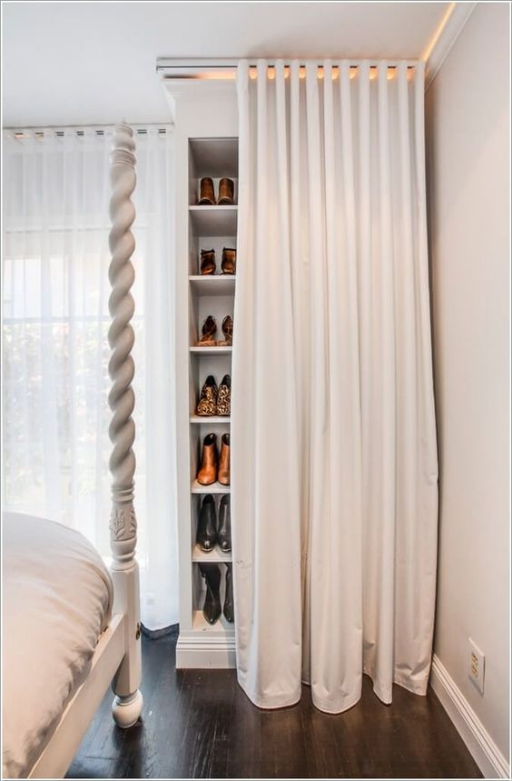 Bedroom Shoes Storage Ideas with A Curtain
