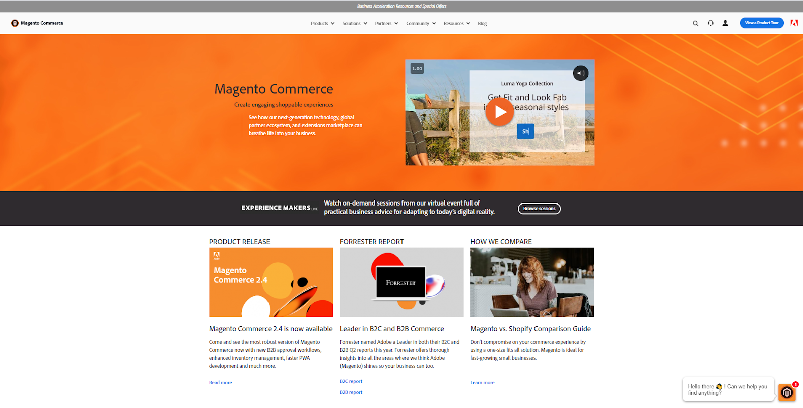screenshot of Magento homepage
