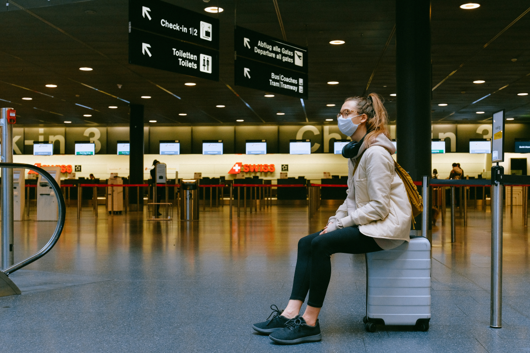 girl waiting at the airport