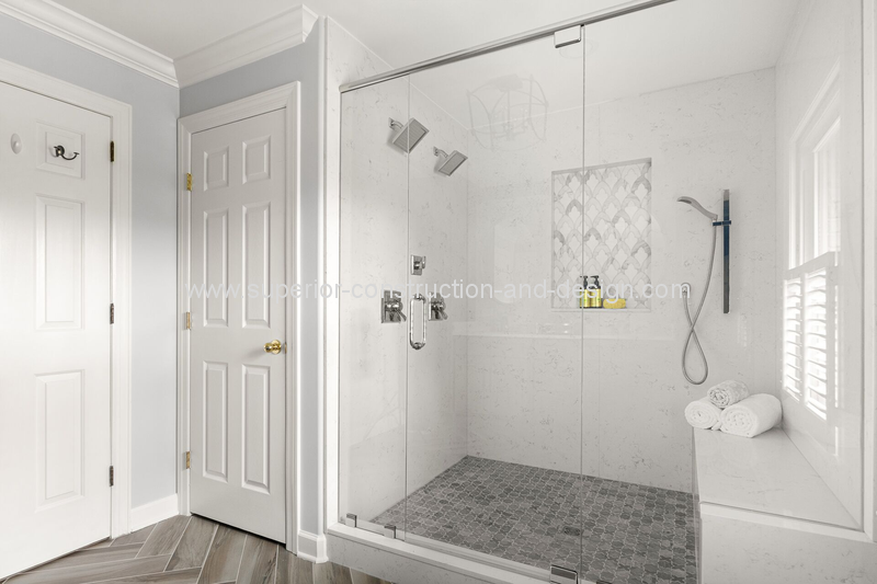 superior construction and design general contractor bathroom remodel white bright tiles