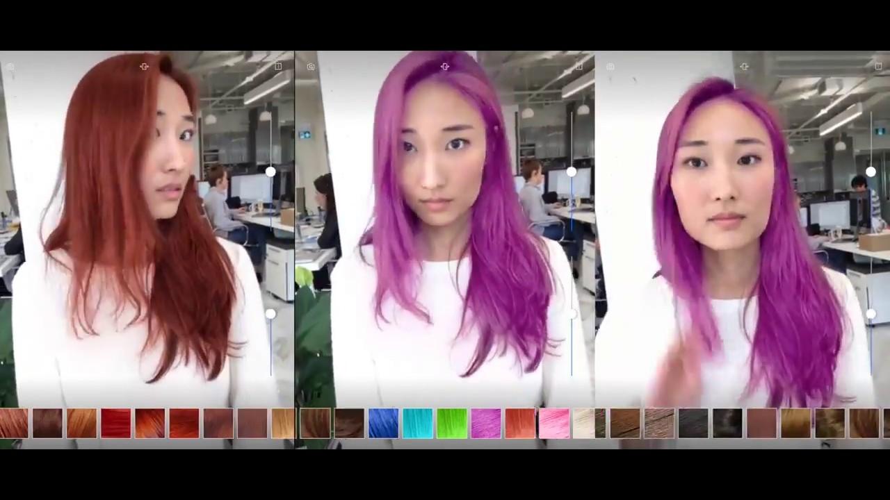 Démo de l'application Modiface rachetée par L'Oréal (UploadVR, 2017) - Réalité augmentée cheveux
