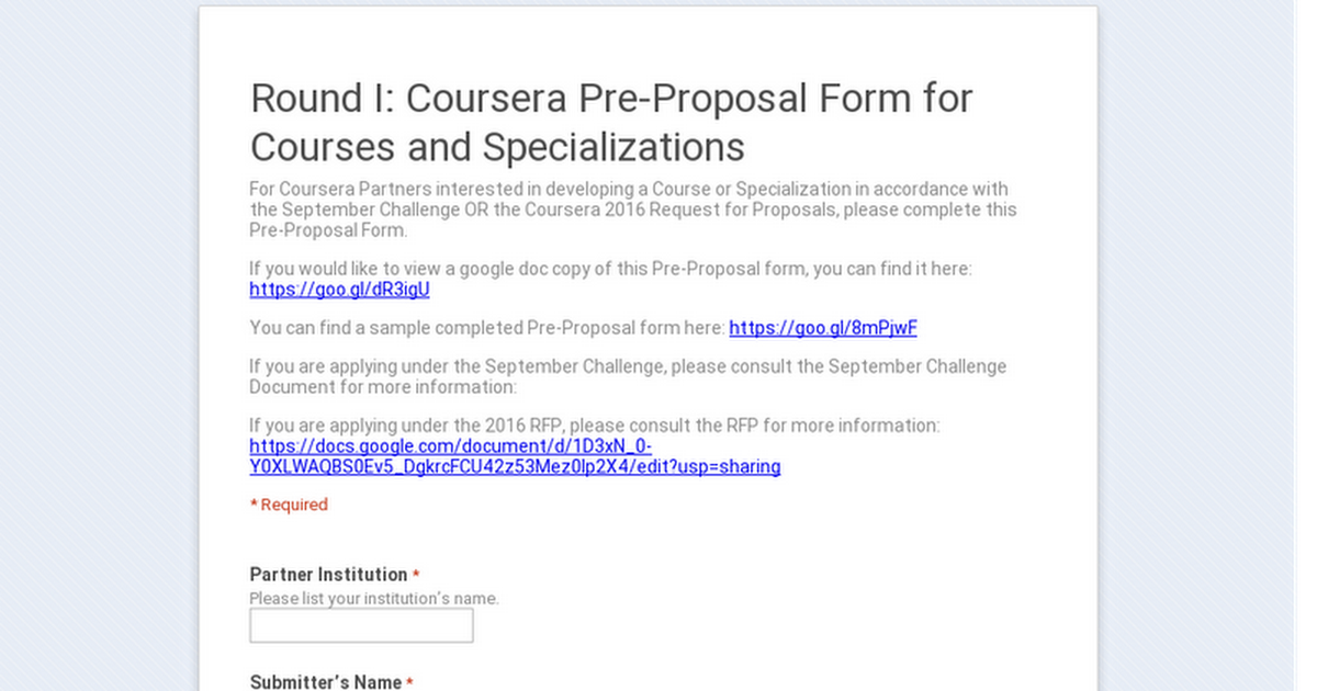 Round I Coursera PreProposal Form for Courses and Specializations – Proposal Form