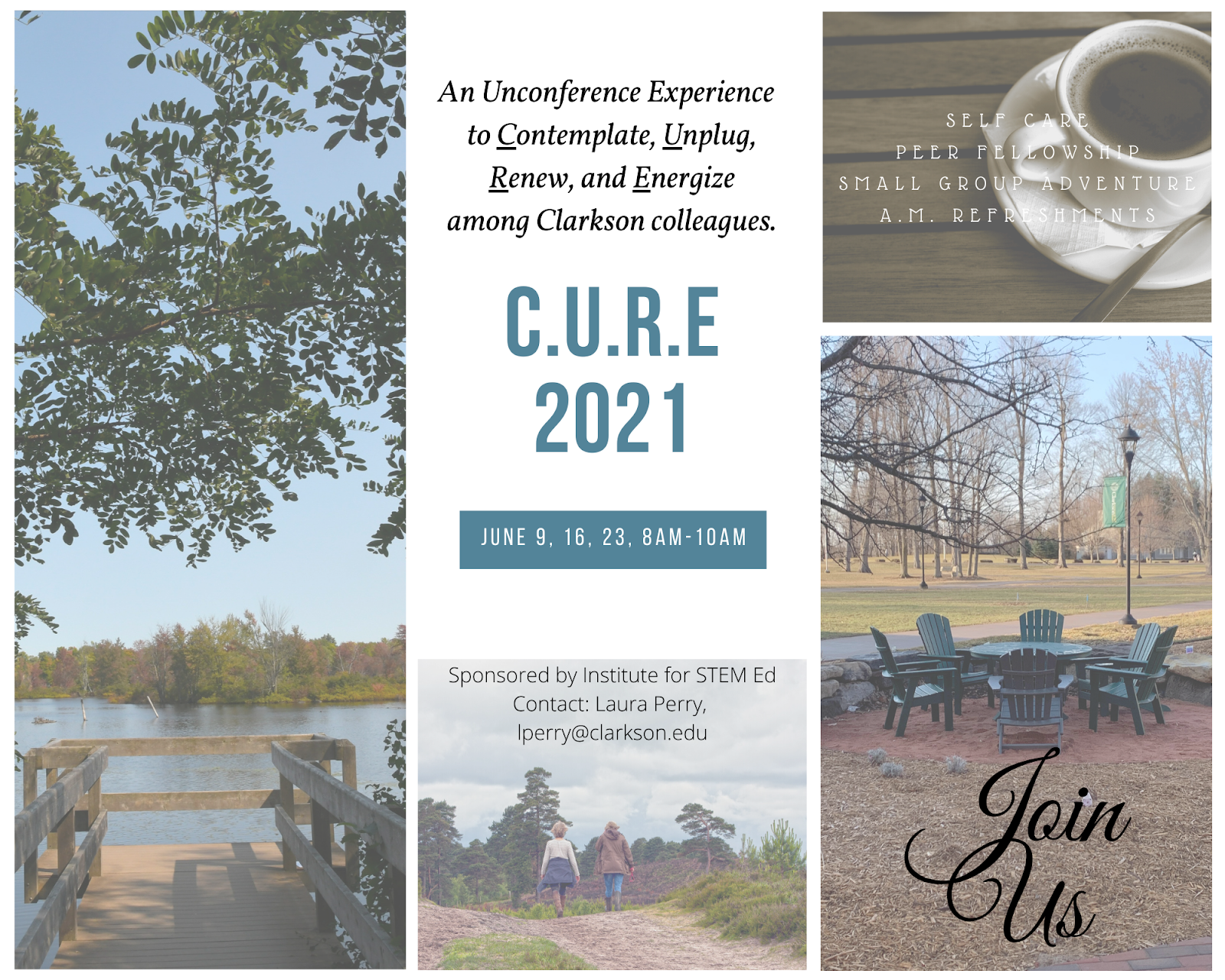 CURE event poster with collagues of images, river, coffee cub, two women walking