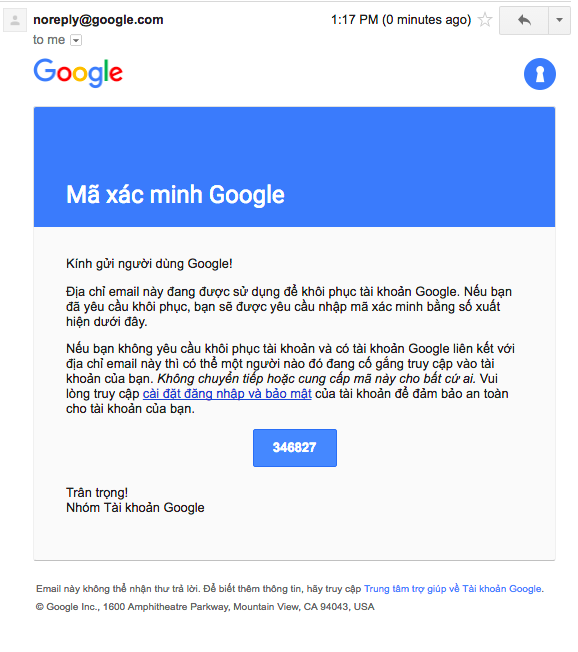 Nội dung email xác minh từ Google