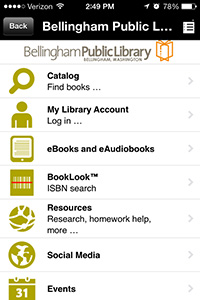 Bellingham Public Library in the Library Now App
