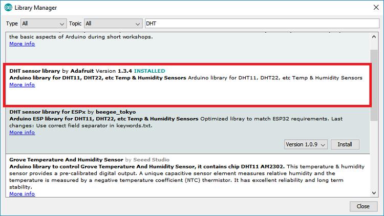 Cài đặt thư viện cho cảm biến DHT11