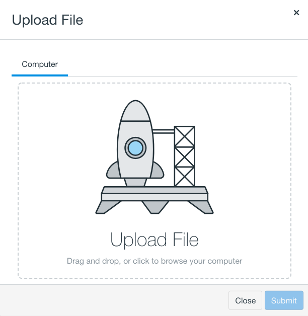 Screenshot of the new drag and drop file upload feature.