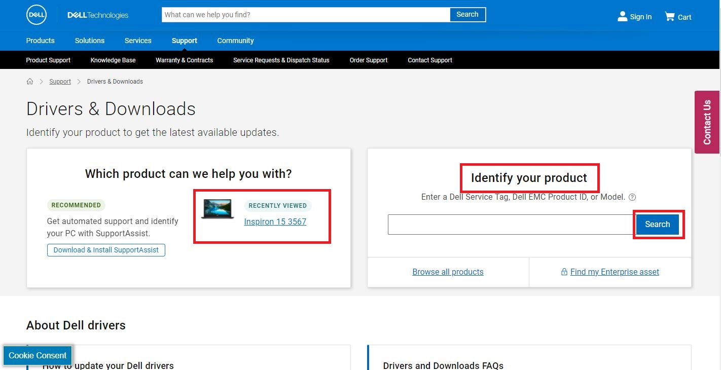 """On that drivers and download page, you might be asked to """"Identify your product, or you can simply """"enter your Service code or choose """"Browse for a product"""" to browse for one manually."""