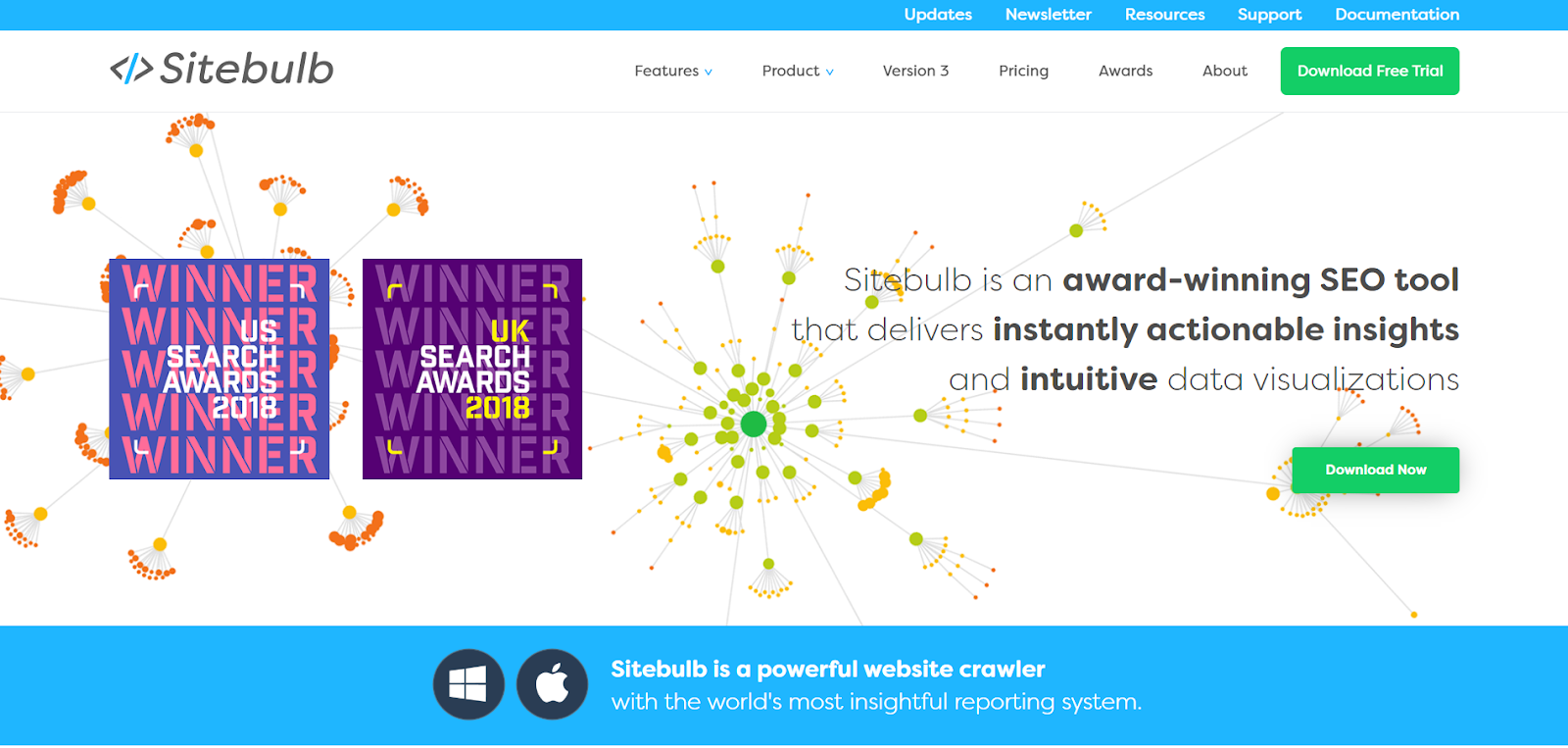 Sitebulb's landing page