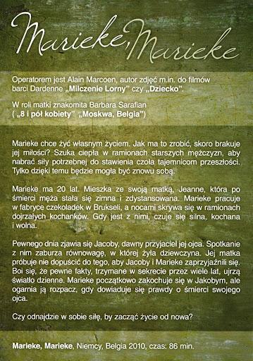 Tył ulotki filmu 'Marieke, Marieke'