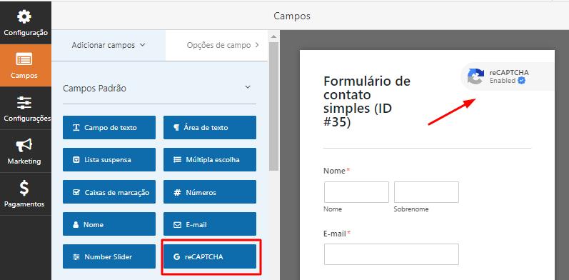 confirmação do reCAPTCHA adicionado no formulário do WPForms