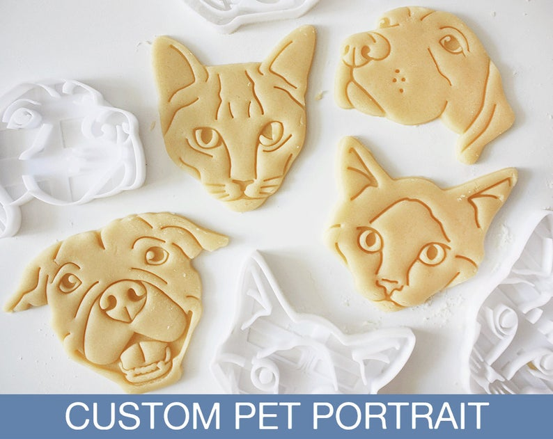 Personalized dog cookie cutters.