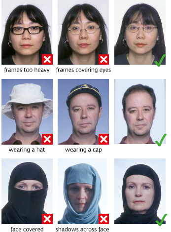 Russian visa photo specifications samples with head covers and glasses