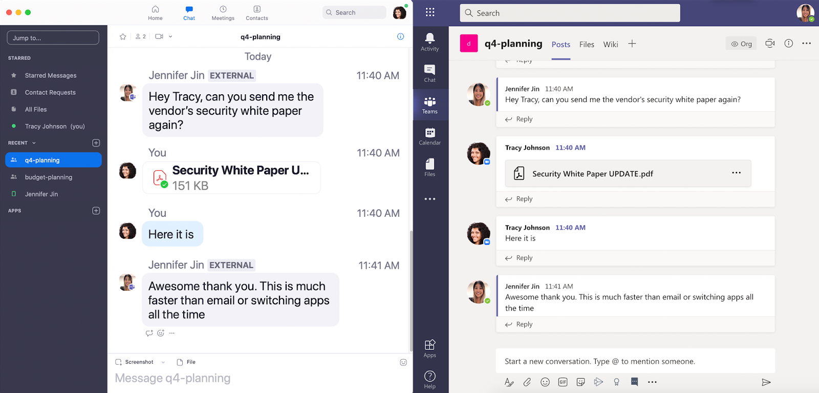 Zoom Chat interoperability with Microsoft Teams