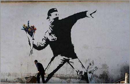 Banksy Rage Flower Thrower - Jerusalem, Israel