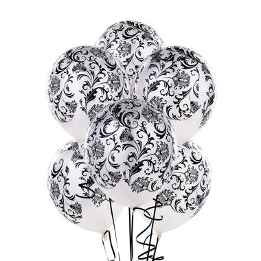 White damask patterned balloons