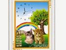 Mẫu tranh in nền: Đồng hồ đôi mèo