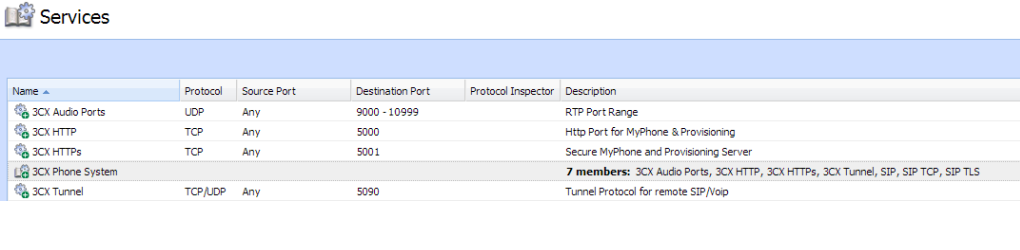 Services summary page on Kerio Control Appliance.