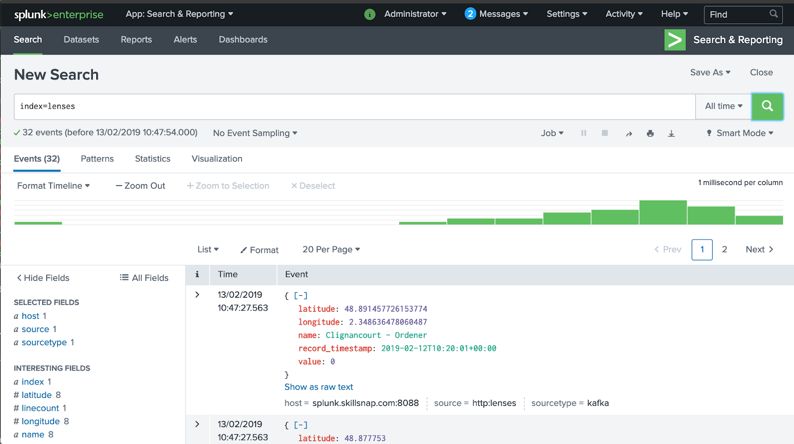 How to get data from a Apache Kafka topic into Splunk in