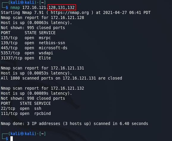 Nmap commands - multiple target scan M2. Source: nudesystems.com