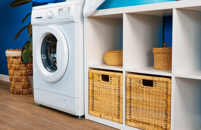 A laundry room organizer