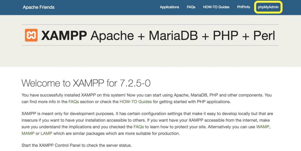 página de acesso do phpmyadmin no xampp