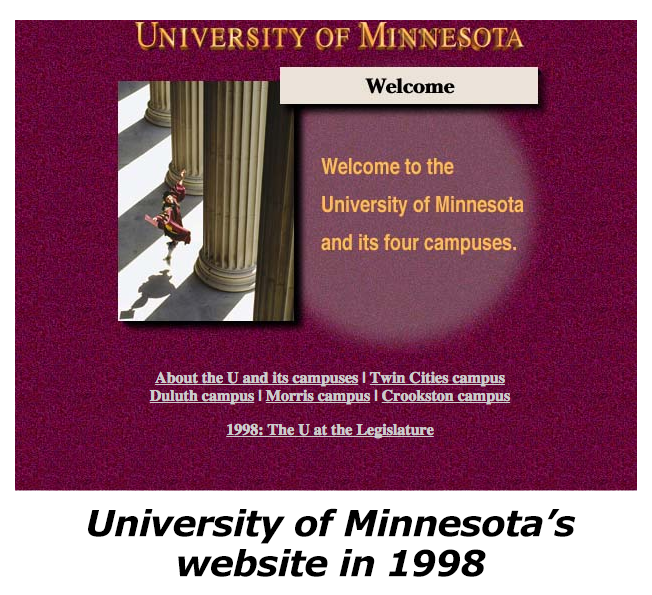 University of Minnesota's website in 1998