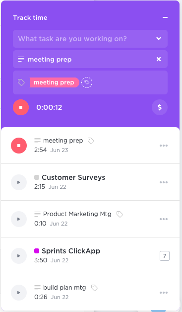 global time tracking in clickup