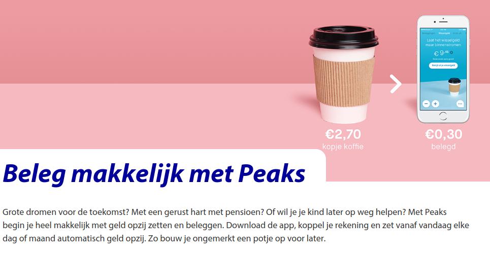 Omschrijving van Peaks op de website van de rabobank.