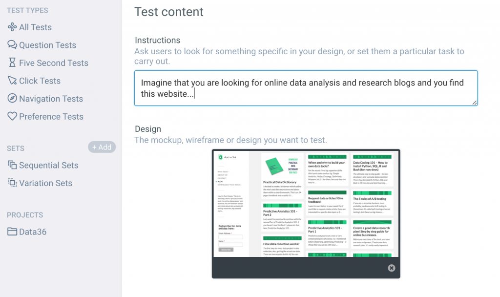 5 second test landing page tool