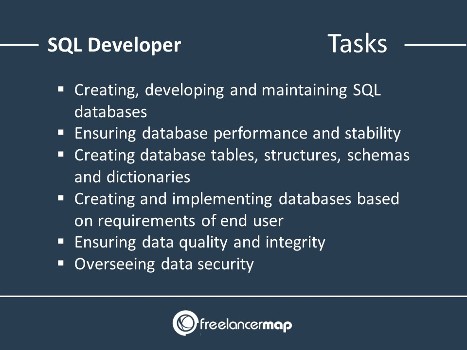 The responsibilities and tasks of an SQL developer