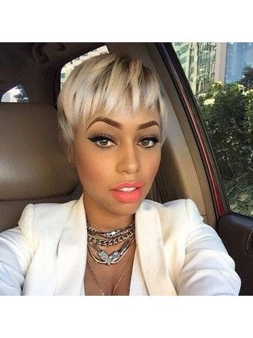 Short Straight Side Bang Double Color Real Natural Hair Wig