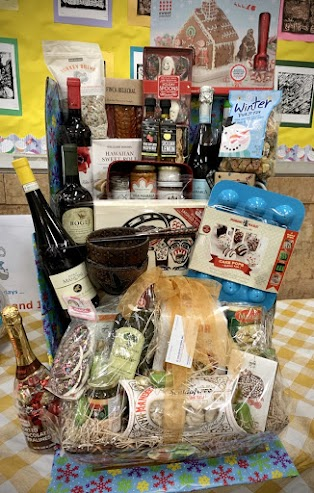 Value - over $450: Italian Cookbook & Music Set, Gingerbread House Kit, Basket from Coluccio, Cake Pop Baking Pan, $50 GC to Southside Coffee, $25 GC to Faicco's Pork Store, $25 GC to Pasta Fresca, Wooden Japanese Rice Bowls & Chopsticks, Cocoa Mugs for 2, Carr's Entertainment Crackers, Tikka Masala Sauce, Raspberry White Balsamic, Sicilian Lemon Olive Oil, Raw Buckwheat Honey, Just a Pinch Hand-gathered Finishing & Herbal Sea Salts, Normax Portuguese Oil & Vinegar Glass Bottles, Cabernet Sauvignon, $25 GC to Sidecar, Winter Theme Pasta, Turkey Brine, Cartcuterie Sampler, Donut Marshmallows, Smoked Salmon, $50 GC to Big Nose Full Body, $75 to Bar Toto, $50 GC to Fonda, $25 GC to Lady Bird Bakery, Chianti, White Wine, Prosecco