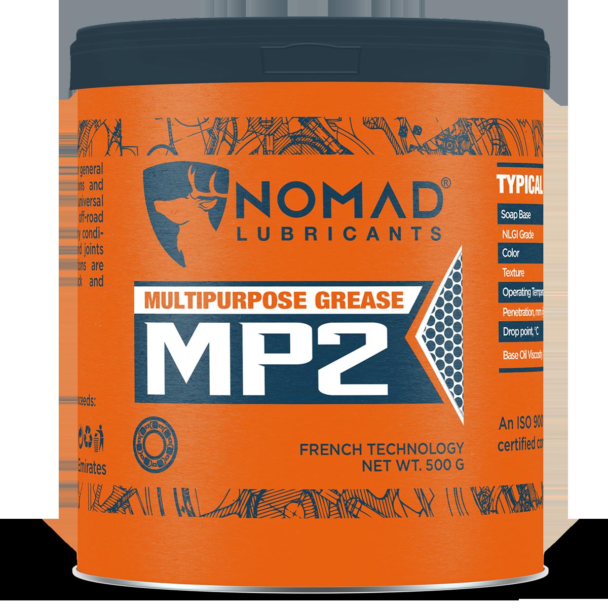 Mỡ NOMAD MP2 là loại mỡ đa năng dùng để bôi trơn thông thường trong điều kiện và tải hoạt động bình thường, được sản xuất để bôi trơn tất cả các chi tiết phổ biến trong vận chuyển, nông nghiệp và phương tiện hoạt động trên trên các địa hình gồ ghề, hoạt động trong điều kiện ẩm ướt, bụi bặm và khô. Bôi trơn tất cả các loại vòng bi và khớp trong nhiệt độ và điều kiện tải là bình thường. Thích hợp cho bạc đạn, chén cổ, … Được pha chế từ dầu gốc nhóm cao đi kèm phụ gia bôi trơn cao cấp tạo nên đặc tính chịu nhiệt lên đến 200 độ C. Thành phần và hàm lượng phụ gia sẽ quyết định những tính chất riêng của mỡ bôi trơn đa dụng.