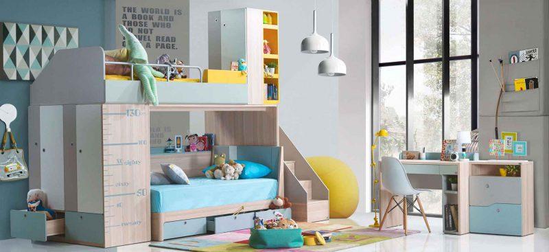 Bộ phòng ngủ sáng sủa với giường cho bé an toàn sức khỏe
