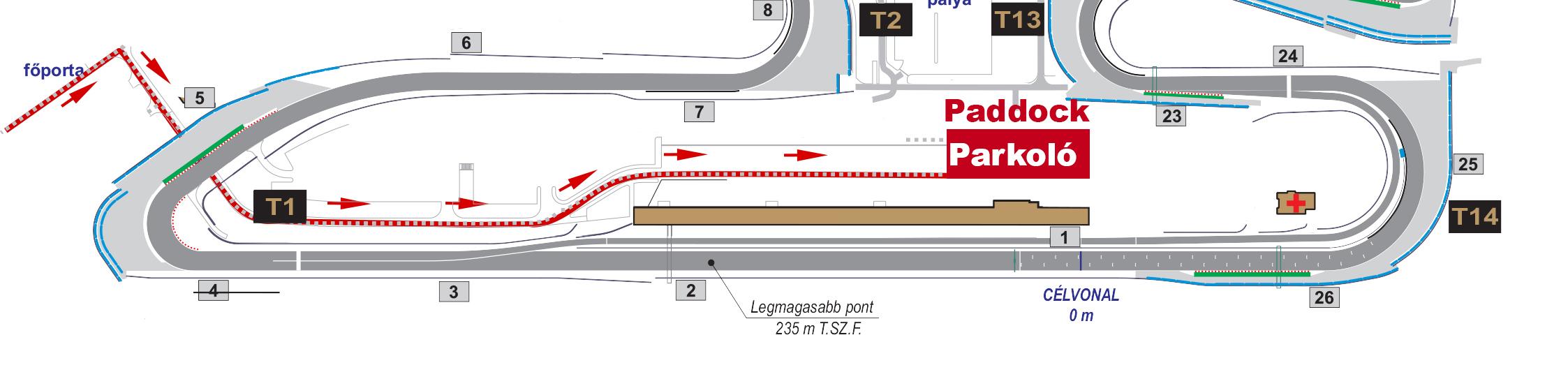A főporta után jobbra kell fordulni. Az alagút áthaladva balra fordulni, majd egyenesen tovább a paddock területére.