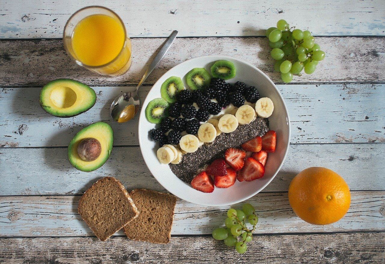 Eat a balanced diet plate full of fruits and vegetables