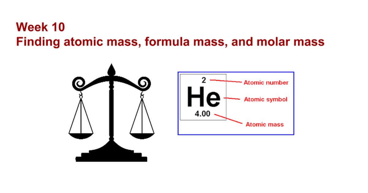 Finding Atomic Mass Formula Mass And Molar Mass Google Slides