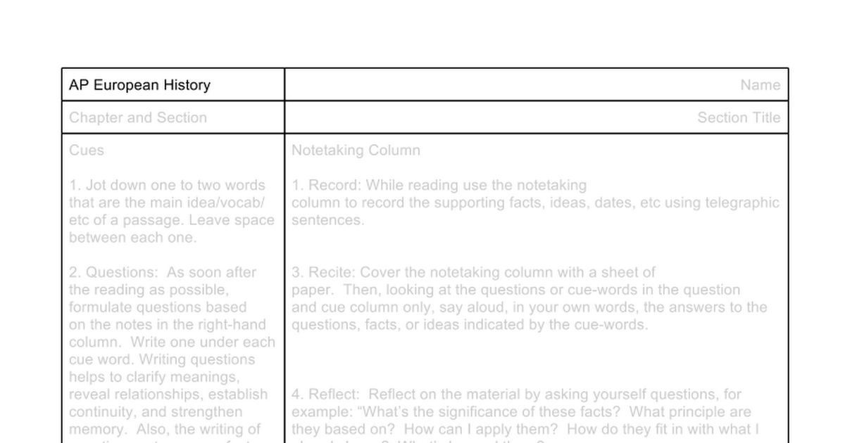 Cornell Notes Template - Google Docs